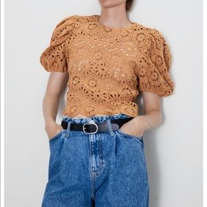 Zara Floral Crochet Puff Sleeve Top